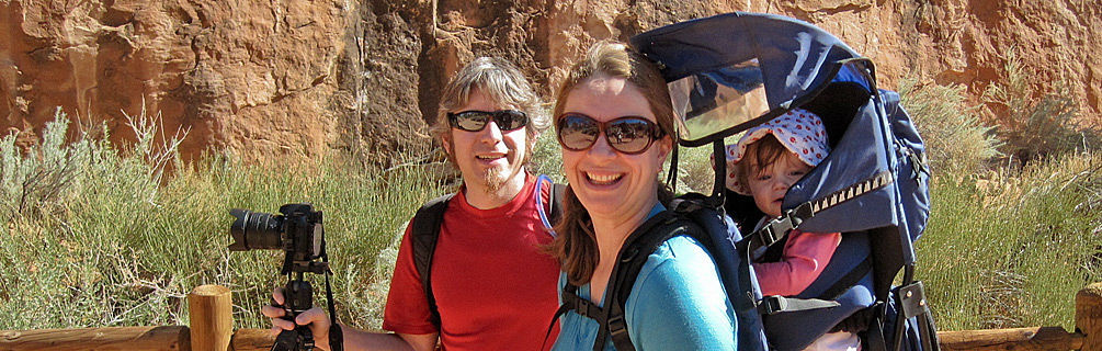Peter, Tracy and Lucy at landscape arch